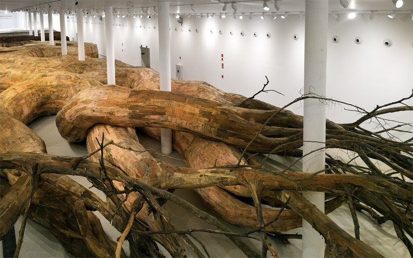 henrique oliveira roots his largest installation to date at the MAC, sao paulo