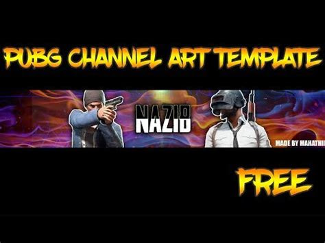 pubg channel art template  photoshop banner