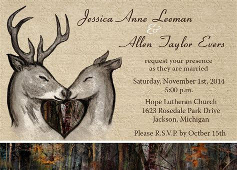 Custom Camo and Deer themed invitations by Camo