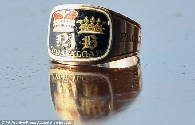 Dishonour: A mourning ring worn by Admiral Lord Nelson's family after his death at the Battle of Trafalgar in 1805 and thought to be worth £25,000 was one of the items stolen from Norwich Castle Museum