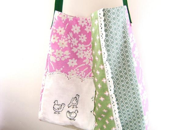 Embroidered Messenger Bag - 'La Basse-court' large patchwork bag in pink and green