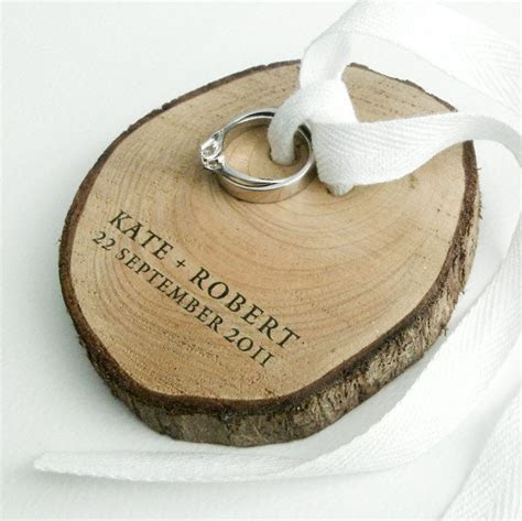 Ring Bearer from birch wood and white cotton ribbon made