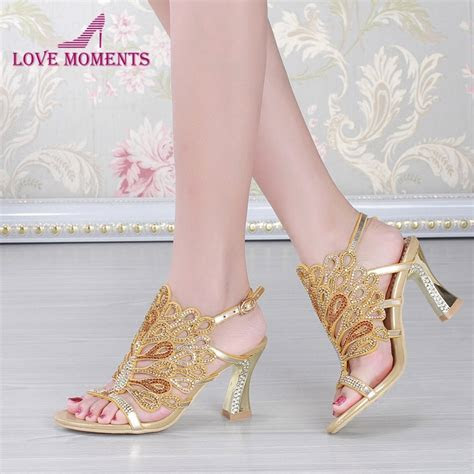 Gold Blue Summer Sandals Rhinestone Chunky Heel Genuine