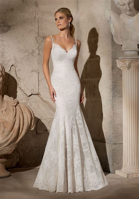 Elegant Alencon Lace with Crystal Beaded Straps Morilee
