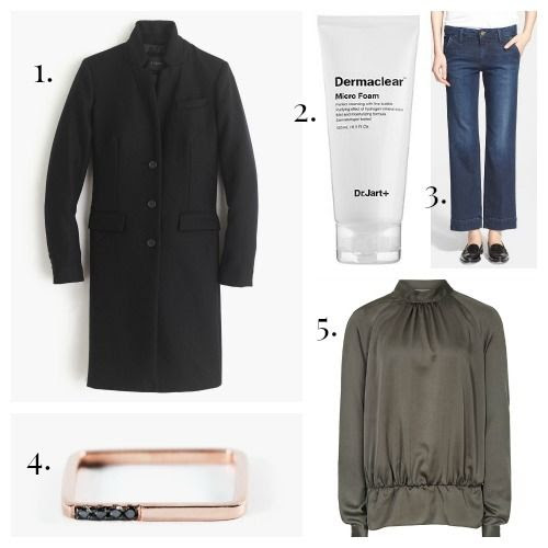 J.Crew Coat - Dr. Jart+ Cleanser - Frame Denim Jeans - Nimma Ring - REISS Blouse