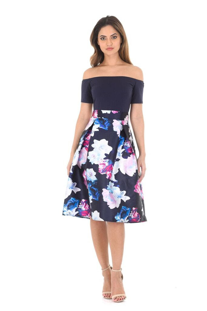 Navy Floral Off The Shoulders Printed Dress1