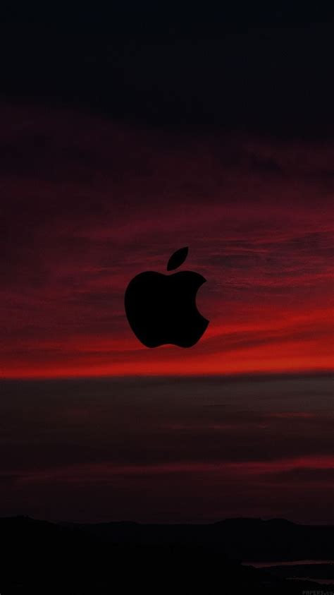 red sunset sky logo apple wallpaper iphone clean