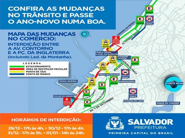 Mapa do Réveillon na Praça Cairu, bairro do Comércio, em Salvador (Foto: Divulgação/Prefeitura de Lauro de Freitas)