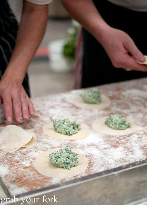 Ravioli fritti with buttermilk ricotta and kale at Rootstock Sydney 2014