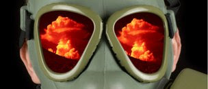 Mask with mushroom cloud reflected in eyepieces, Thinkstock photo