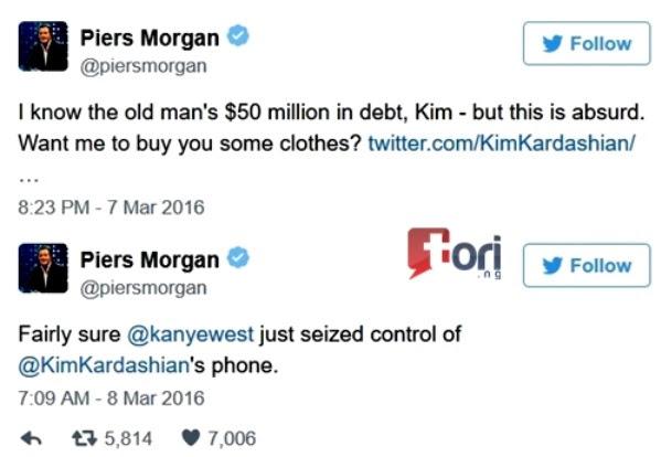 Image result for piers morgan kim kardashian twitter