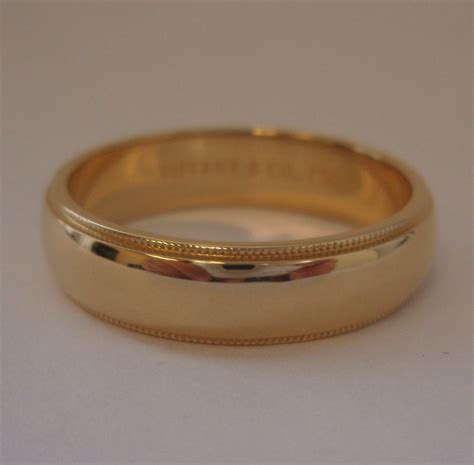 TIFFANY & Co. 18K Gold 6mm Milgrain Wedding Band Ring 12