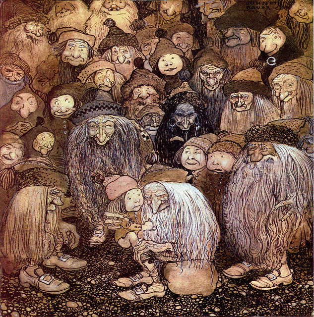 "John Bauer - ""But how do I get into the mountain, the gnome boy asked"" 1909"
