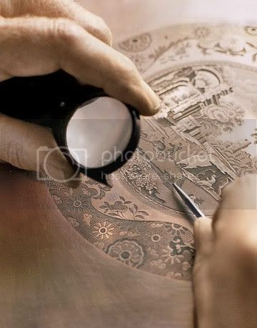 Engraving a copper plate