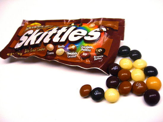 Yesterday my gal BuzzSugar surprised me with a packet of Chocolate Skittles