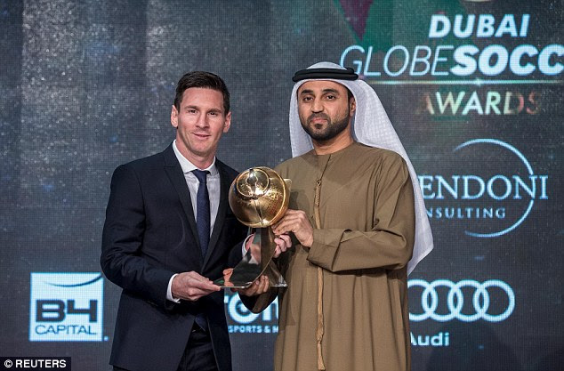 Lionel Messi (left) triumphed at the Globe Soccer Awards after scooping the Best Player of the Year accolade
