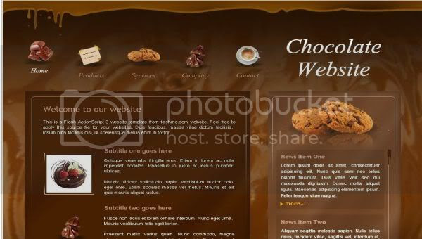 Flash Chocolate Store shop Web2.0 Template