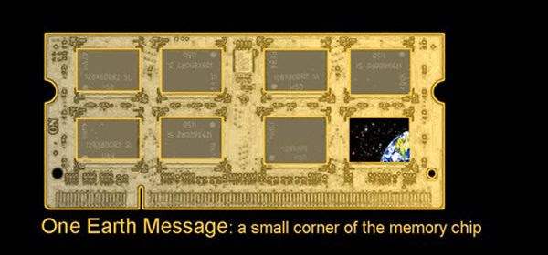 The ONE EARTH MESSAGE would only take up space on a single microchip in New Horizon's computer.