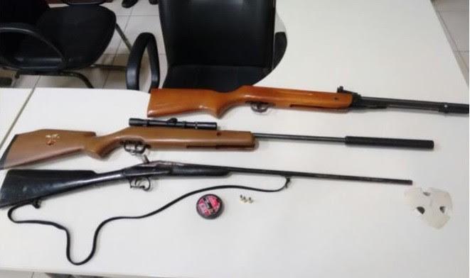 Armas apreendidas na casa do homem em Conceição do Castelo (Foto: Divulgação/Polícia Militar)