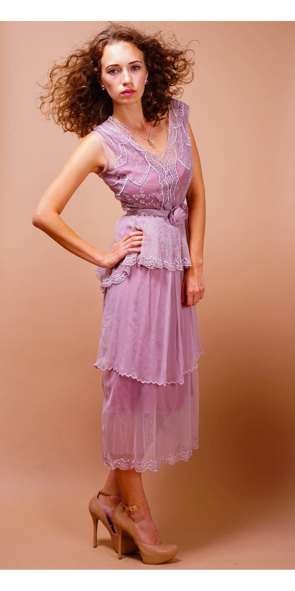 tiered vintage style tea party dress in lavenderrose