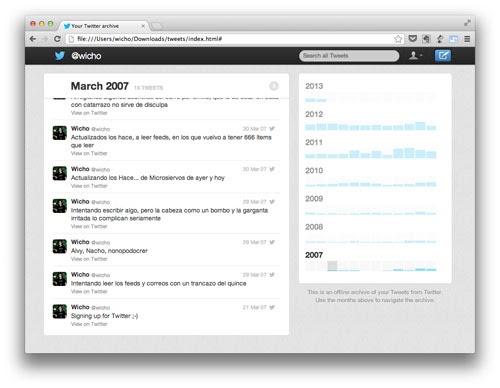Consigue ya el archivo de Twitter con todos tus tuits