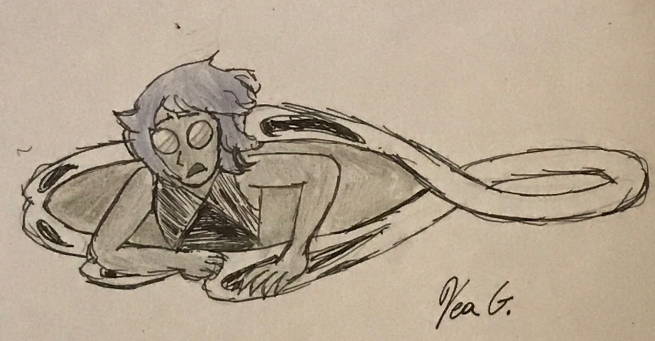 Inktober (Late) Day 5 Imprisonment Lapis Lazuli in semi grey scale.
