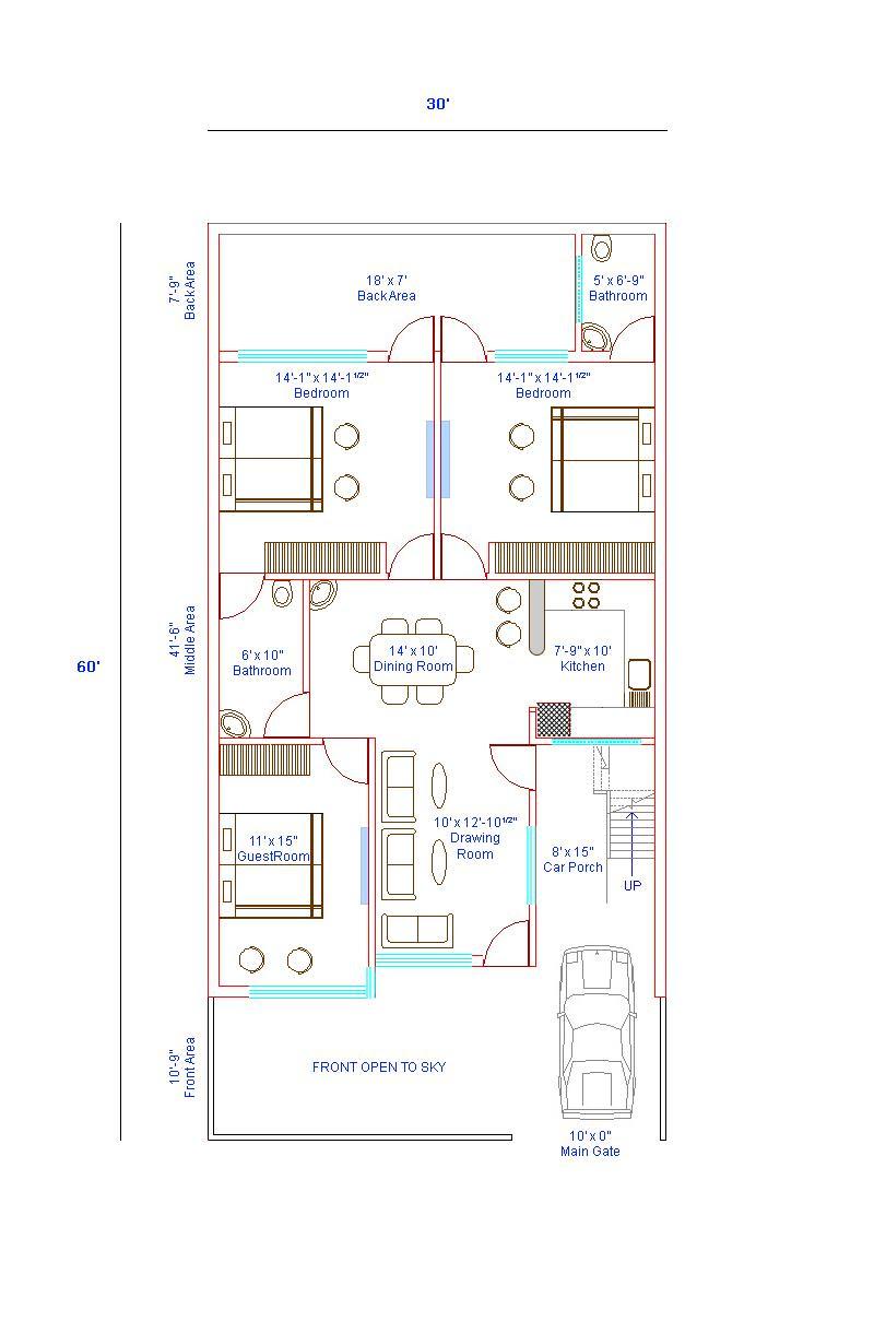 30 X 60 Floor Plan Gharexpert