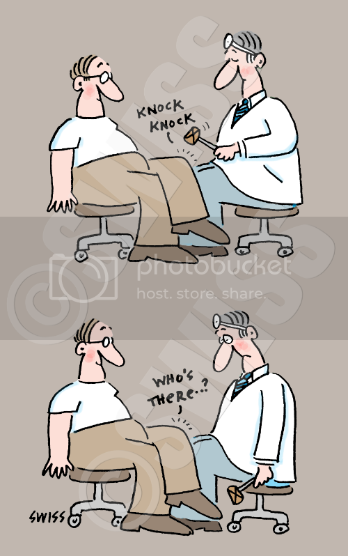 Cartoon Doctor Gives Physical Exam