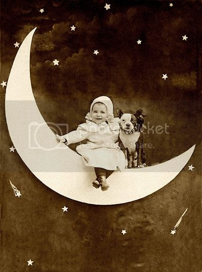 vintage paper moon baby and pit bull puppy dog