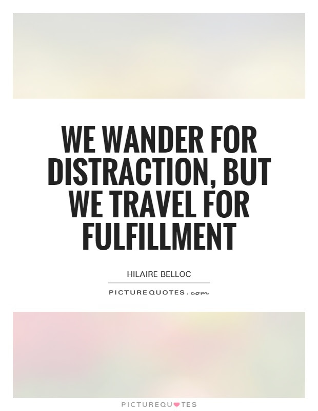 We Wander For Distraction But We Travel For Fulfillment Picture