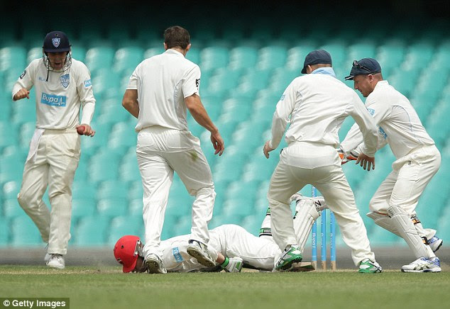 Batsman Phil Hughes collapsed and hit the ground face first at the Sydney Cricket Ground this afternoon after being struck in the head by a bouncer during a Sheffield Shield match