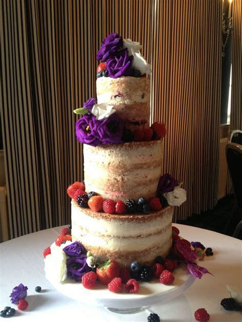 Mary Berry wedding cake   decorated with purple and white