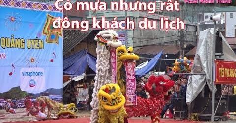 Múa Rồng Lân pháo hoa Quảng Uyên Có nhiều lợn quay đông khách du lịch