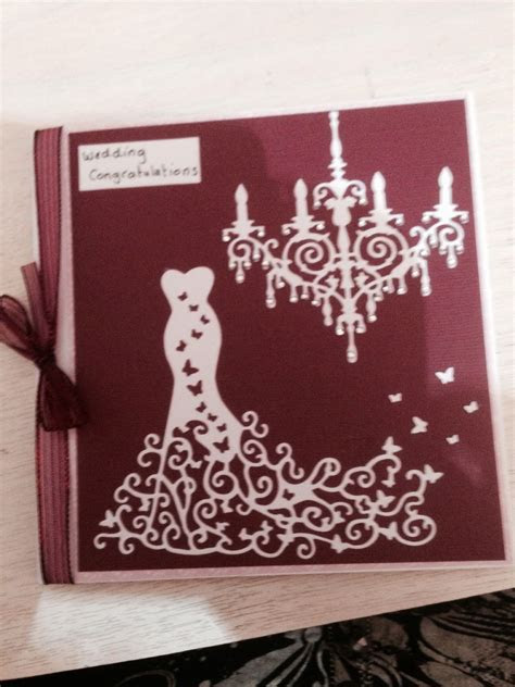 Wedding card using Tattered Lace die Red carpet dress