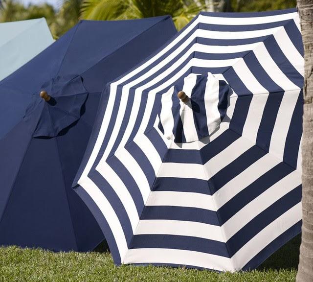 Sunbrella Round Umbrella, Awning Stripe, Navy ...