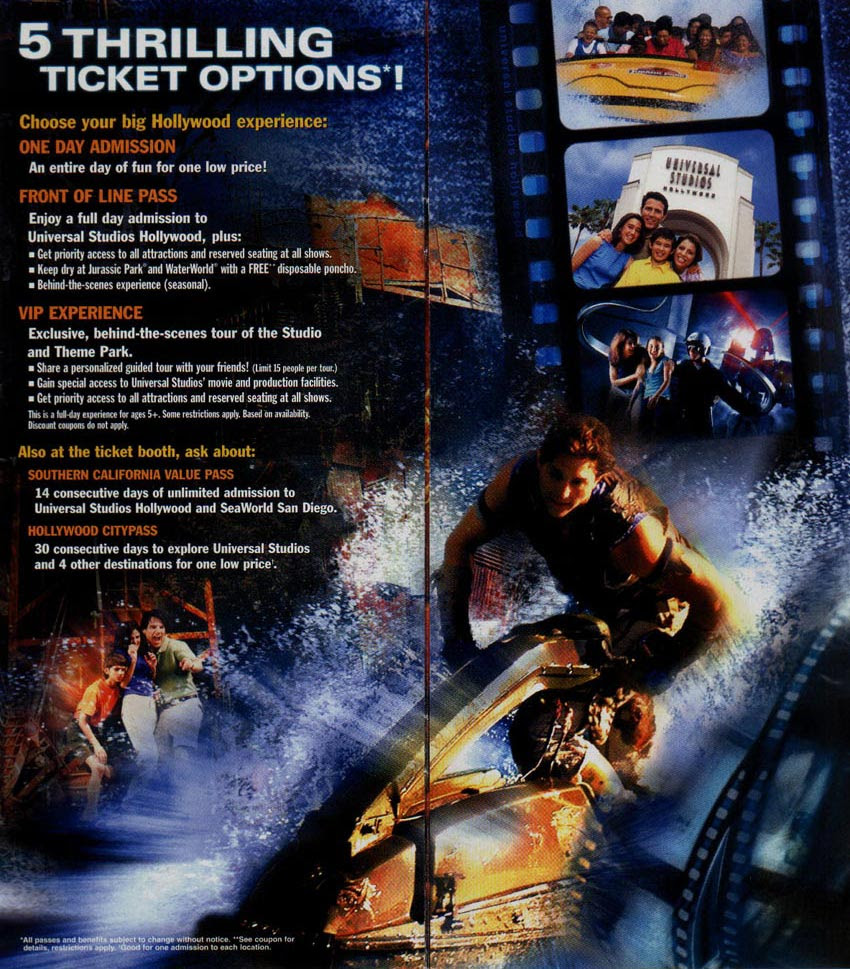 Theme Park Brochures Universal Studios Hollywood Theme