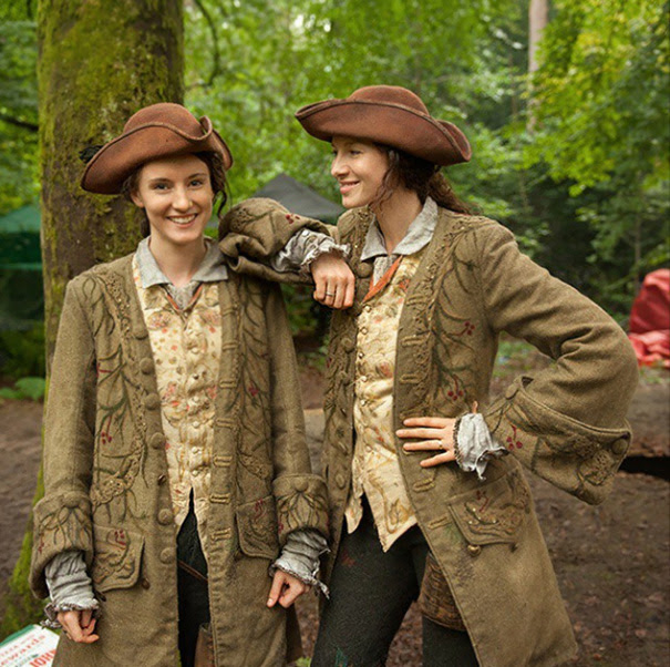 Caitriona Balfe And Her Stunt Double On The Set Of Outlander
