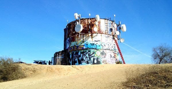 The water tank/cell tower/whatever up-close and personal...on November 24, 2014.