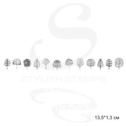Штамп Бордюр Нарисованные карандашом деревья