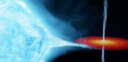 An artist's impression of the Cygnus X-1 binary system. Image credit: International Centre for Radio Astronomy Research.