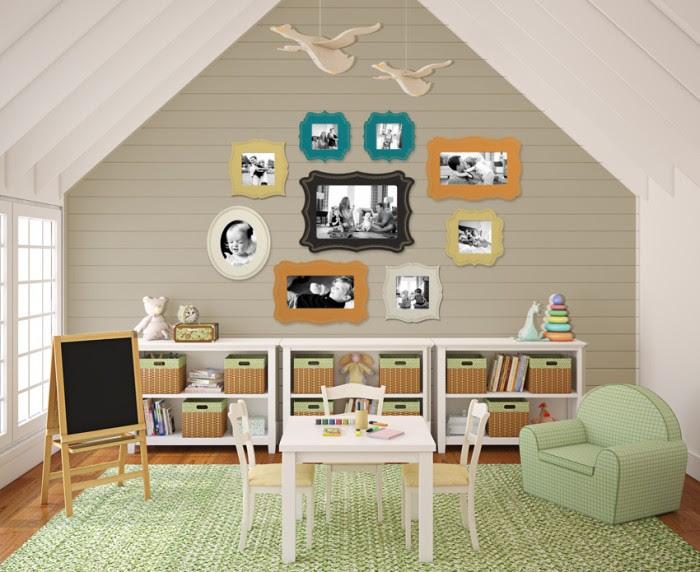 susannsaarelphotography.com Attic style child's room Photo collection storage in pastel