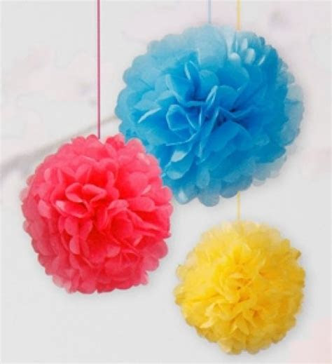 Bright Tissue Paper Pom Poms   Mixed Sizes   Favour Fairy