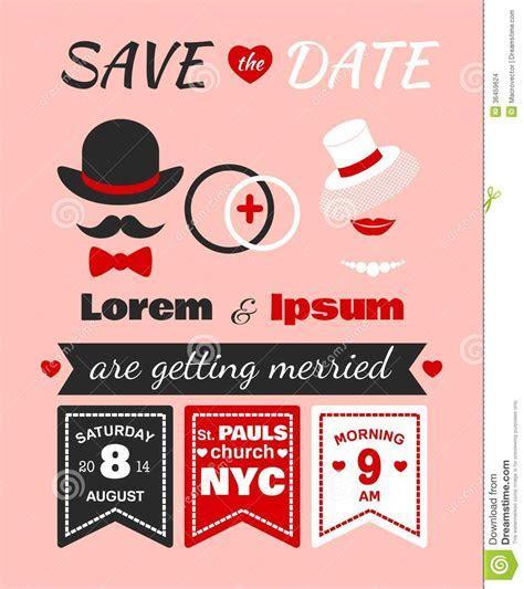Hipster Wedding Invitation Card Stock Vector   Image: 36459624