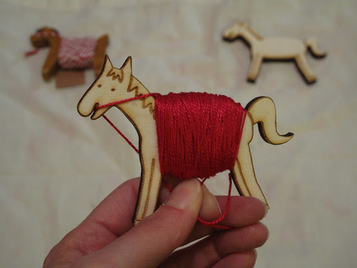 Embroidery floss pony.