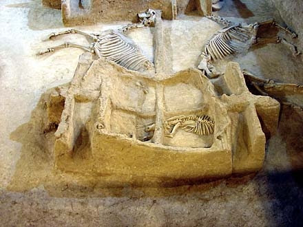 Chariot burial with a dog