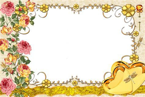 Large Transparent Gold Frame with Flowers   Gallery