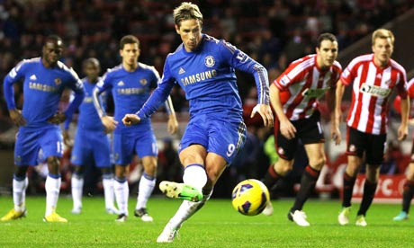 Fernando Torres scores his and Chelsea's second goal against Sunderland from the penalty spot.