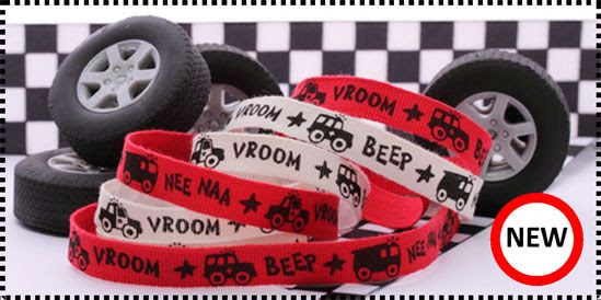 ribbon printed with cars and engines for the boys.