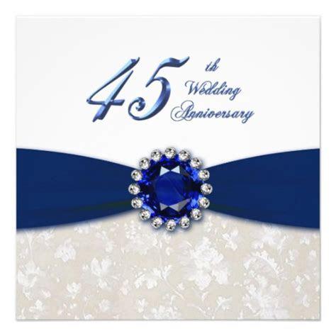"Damask 45th Wedding Anniversary Invitation 5.25"" Square"