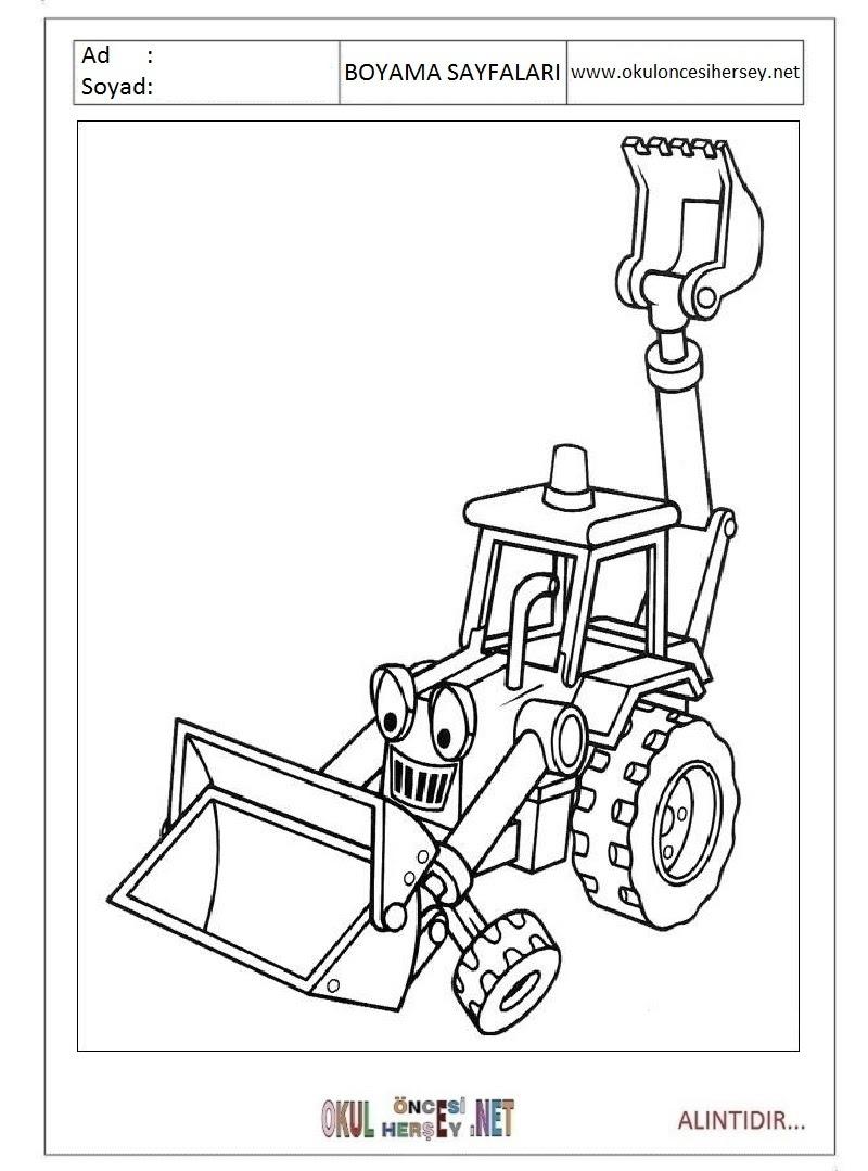 Iş Makinesi Boyama Sayfaları